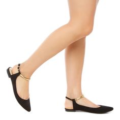 ballet flat with metallic ankle strap
