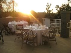 Setup for a Rehearsal Dinner at the pool area at Sunset.