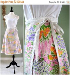 ON SALE Vintage Floral Wrap Skirt  1970s by Flourisheshome on Etsy