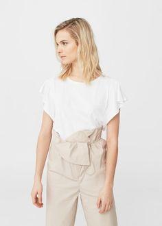 Camiseta manga volante - Camisetas de Mujer | MANGO España