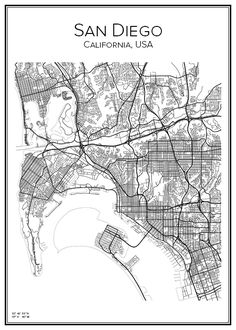 Line Illustration, Illustrations, San Diego Map, Triumph Cafe Racer, Photo Maps, Vintage Maps, City Maps, Black And White Pictures, Paintings