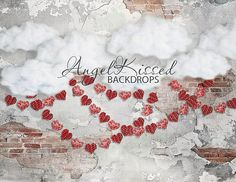 Brick Wall with Clouds & Heart Garland Valentine's Day Photography Backdrop, Paper Hearts, Party, 8x10 Sweatshirt Material