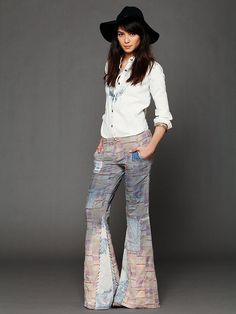 Free People Patchwork Plaid Flares