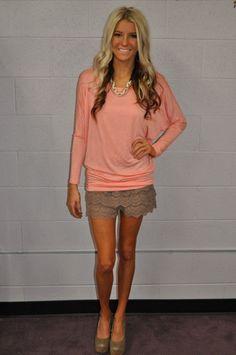 Multi Tiered Lace Shorts Mocha