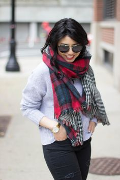 RD's Obsessions: Oversized Reversible Plaid Scarf, black distressed jeans, wedged booties, cozy knit sweater, winter fashion, winter style, winter outfits