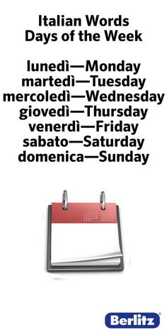 My Grandma taught me how to says the days of the week in Italian, when I was little. #learnitalian