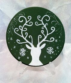 Yule Stag Wood Altar Tile / Winter Solstice by SageArt9 on Etsy, $20.00
