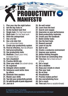 The Productivity Manifesto #productivity #manifesto Read more: http://personalexcellence.co/blog/boost-your-productivity-in-50-ways/ setting goals, goal setting #goals #motivation