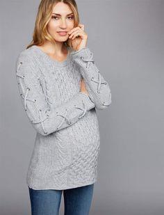 2d2fb808c788 John & Jenn Pea Collection John + Jenn Cable Knit Sleeve Detail Maternity  Sweater