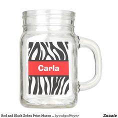Red and Black Zebra Print Mason Jar