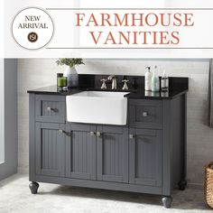 Bring the farmhouse sink into your bathroom with the Nellie Farmhouse Sink Vanity. Available in dark gray, white, and antique coffee.