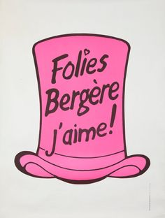 Original Vintage Poster Folies Bergere French Showgirl Pink Tophat Moulin Rouge