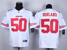 "$23.88 at ""MaryJersey"" (maryjerseyelway@gmail.com) #50 Chris Borland, #80 Jerry Rice - Nike 49ers White Men Stitched NFL Elite Jersey"