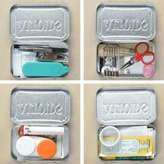 Repurpose Empty Mint Tins Into These 4 DIY Travel Kits 4 Ways To Repurpose Mint Tins More from my site Alone: Survival Hacks: DIY Water Filter (Season Travel Kits, Packing Tips For Travel, Travel Hacks, Packing Hacks, Travel Bag Essentials, Road Trip Packing, Vacation Packing, Road Trip Hacks, Travel Ideas
