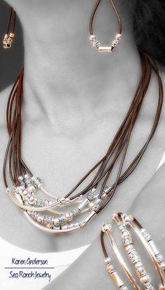 Conjunto de joyería de cuero 4 piezas por SeaRanchJewelry en Etsy