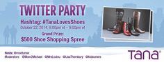 #TanaLovesShoes  Twitter Party on  10/22/2014  at  08:00 PM  ET - http://www.thisbirdsday.com/tanalovesshoes-twitter-party-on-10222014-at-0800-pm-et/ #TwitterParty
