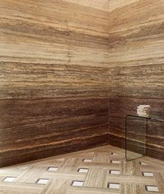 I always love Vein-cut travertine stone walls for shower (Lapicida) anyway, but the floor pattern is stunning too