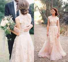 Deep V Cap Sleeves Pink Lace Applique Tulle Sheer Wedding Dresses 2015 Cheap Vintage A Line Reem Acra Latest Blush Wedding Bridal Dress Gown Wedding Gowns Pictures Wedding Shops From Kissbridal, $113.92| Dhgate.Com