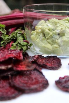 Beet Chips with Avocado and Goat Cheese Dip! Healthy munchies!