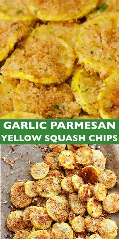 Garlic Parmesan Yellow Squash Chips: A healthy snack or appetizer that is incredibly flavorful, crispy, and absolutely delicious! Side Dish Recipes, Vegetable Recipes, Vegetarian Recipes, Cooking Recipes, Healthy Recipes, Healthy Snacks Vegetarian, Healthy Chips, Lunch Snacks, Clean Eating Snacks