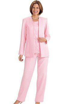 Pant Suits Scoop Ankle-length Satin Mother of the Bride Dress