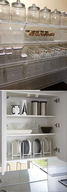There are a few kitchen storage hacks that can help you make the most out of your space and not mix up your stuff. These hacks will ensure that you customize your area to be uniquely yours. It is enough pain to cook in a kitchen that doesn't have enough space; you shouldn't compound that pain by not knowing where what you need is. Kitchen Storage Hacks, Kitchen Hacks, Kitchen Organization, Storage Ideas, Kitchen Ideas, Cheap Diy Home Decor, Diy Kitchen Decor, Diy Ideas, Decor Ideas