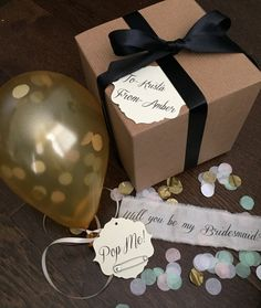 Gold Will you be my bridesmaid Pop the balloon by MySouthernSpirit