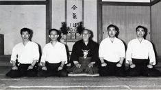 """Masamichi Noro, Kisshomaru Ueshiba, Morihei Ueshiba, Koichi Tohei and Hiroshi Tada - from the blog post """"Aikido Shihan Hiroshi Tada - the Yachimata Lecture, Part 3"""": http://www.aikidosangenkai.org/blog/aikido-hiroshi-tada-yachimata-part-3/"""