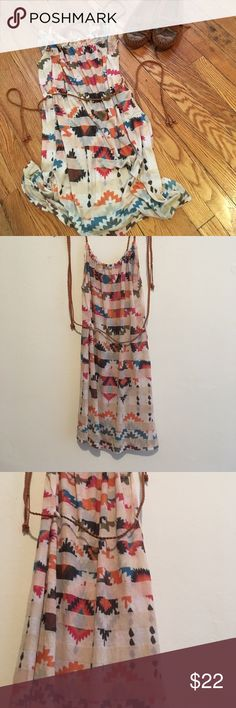 Native American Aztec Dress Cute boho Native American summer dress with Aztec design! Straps are braided with beads on the end. Has braided belt around waist. Worn once. Adorable with a pair of Minnetonka 🐺 Foreign Exchange Dresses