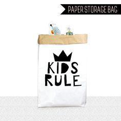 Kids Rule paper storage bags,large paper storage bags,clothes storage bags,laundry storage bag, cute paper storage bag,toy…