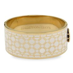 Harlequin Cream & Gold Hinged Bangle | Halcyon Days