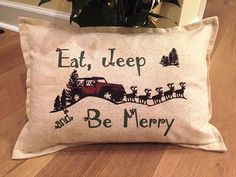 Jeep Christmas Pillow 12x18 lumbar eat jeep and by JoellesCorner