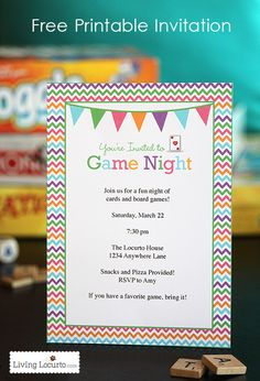 Game Night Free Printable Party Invitation. #freeprintable
