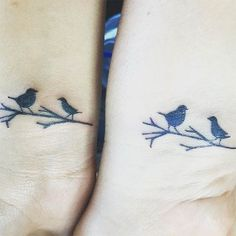 Mother Daughter Birds on a Branch Tattoos