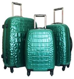 3 Pc Luggage Set Hardside Rolling 4wheel Spinner Polycarb Case Travel Croc Green >>> To view further for this item, visit the image link.