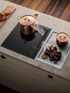 BORA Classic - cooking without an extractor hood Kitchen Flooring, Kitchen Furniture, Kitchen Interior, Diy Furniture Videos, Vintage Stoves, Teppanyaki, Big Kitchen, Küchen Design, Modern Kitchen Design