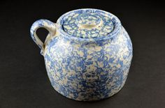 Antique Vintage Blue and White Spongeware Stoneware Pottery with Lid w Bean Pot