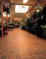 Quarry tiles making an excellent flooring surface in a garden centre