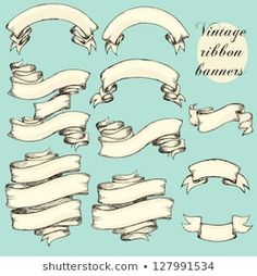 Illustration about Vintage ribbon banners, hand drawn collection, set. Illustration of engraving, doodle, line - 56649732 Ribbon Banner, Vintage Banner, Baroque Frame, Scroll Tattoos, Tattoo Banner, Banner Drawing, Ribbon Tattoos, Wow Art, Embossing Folder