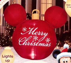 amazoncom disney mickey mouse ears red merry christmas ornament airblown inflatable patio