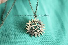bronze Pentacle necklace sun The supernatural jewelry Pagan Witchcraft