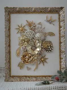 Vintage Framed Jewelry Garden Art Birds on White