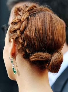 Braided Prom Hairstyles - Small Low Side-Braided Twisted Bun with Free Ends
