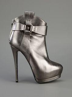 Giuseppe Zanotti Grey Metallic Leather Boots
