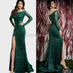 Dark Green Mermaid Long Sleeve Prom Dresses 2016 Real Picture Off ...