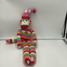 """SCM Designs Striped Sock Monkey Knit Pink Orange Green 21"""" Stuffed Animal Stripe #SCMDesigns"""