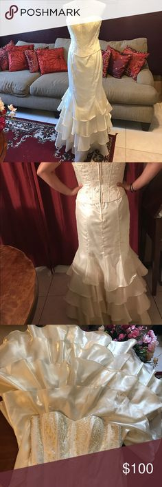 Formal Dress Formal Dress one piece- corset with pearl and white color beads- straight with ruffles on the bottom.  In good condition Dresses Wedding