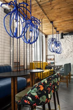 The Blue Cup coffee shop by #kleydesign.com in Kiev, Ukraine. Photo by Ania Garienchik. Designer #YovaYager Pattern #NastyaPtichek