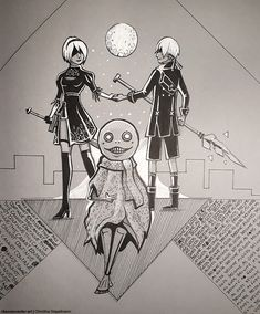 Nier Automata Speeddrawing on Midtone paper with ink pen and gelly roller. Nier Automata, Traditional Art, My Arts, Ink, Paper, India Ink