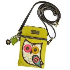 New Chala Cell Phone Purse Crossbody Vegan Leather Convertible OWL Yellow gift